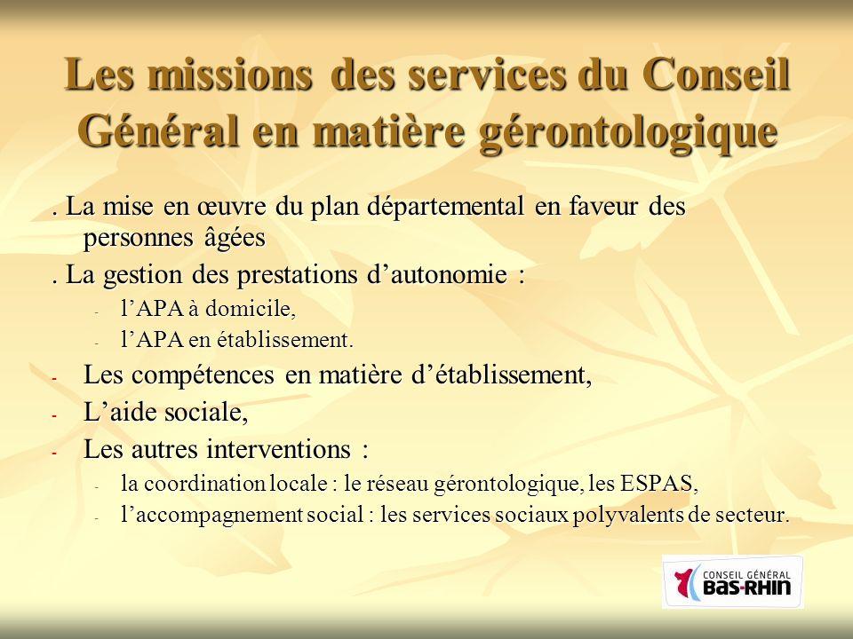 Les missions des services du Conseil Général en matière gérontologique