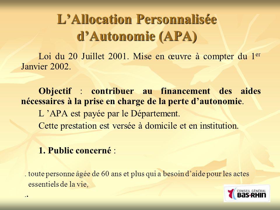 L'Allocation Personnalisée d'Autonomie (APA)