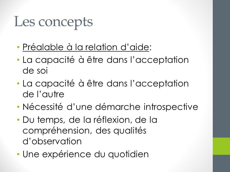 Les concepts Préalable à la relation d'aide: