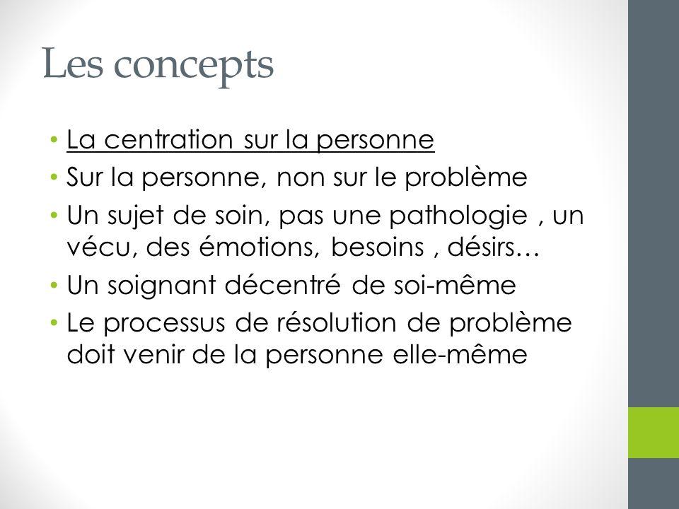 Les concepts La centration sur la personne