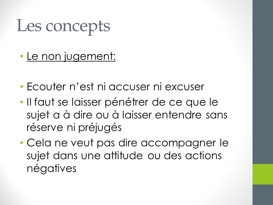 Les concepts Le non jugement: Ecouter n'est ni accuser ni excuser