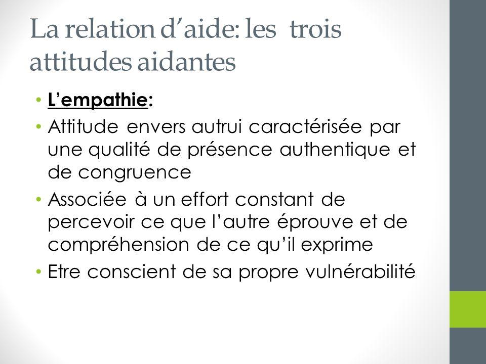 La relation d'aide: les trois attitudes aidantes