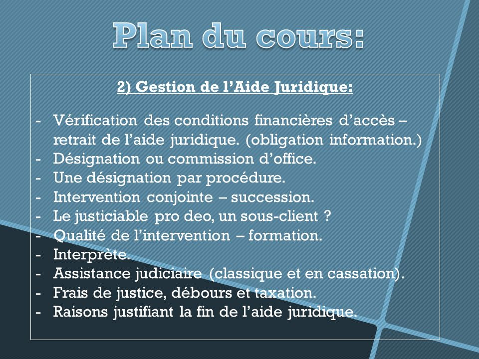 2) Gestion de l'Aide Juridique:
