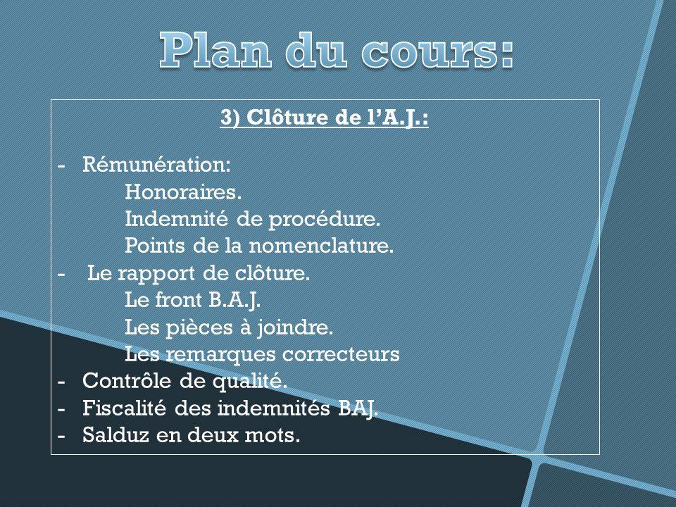 Plan du cours: 3) Clôture de l'A.J.: Rémunération: Honoraires.