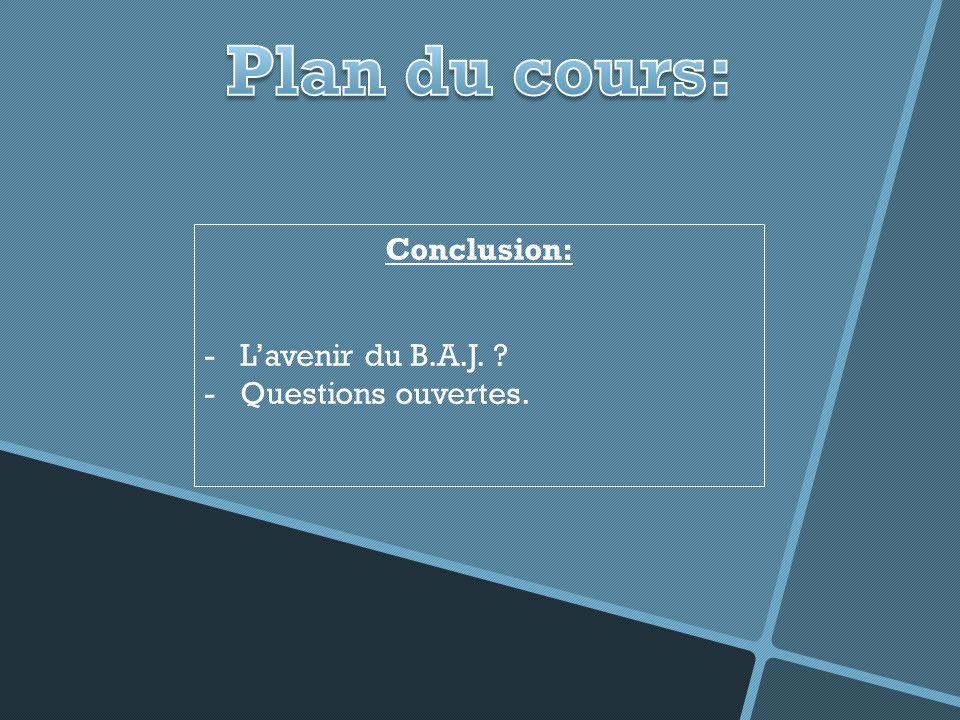 Plan du cours: Conclusion: L'avenir du B.A.J. Questions ouvertes.