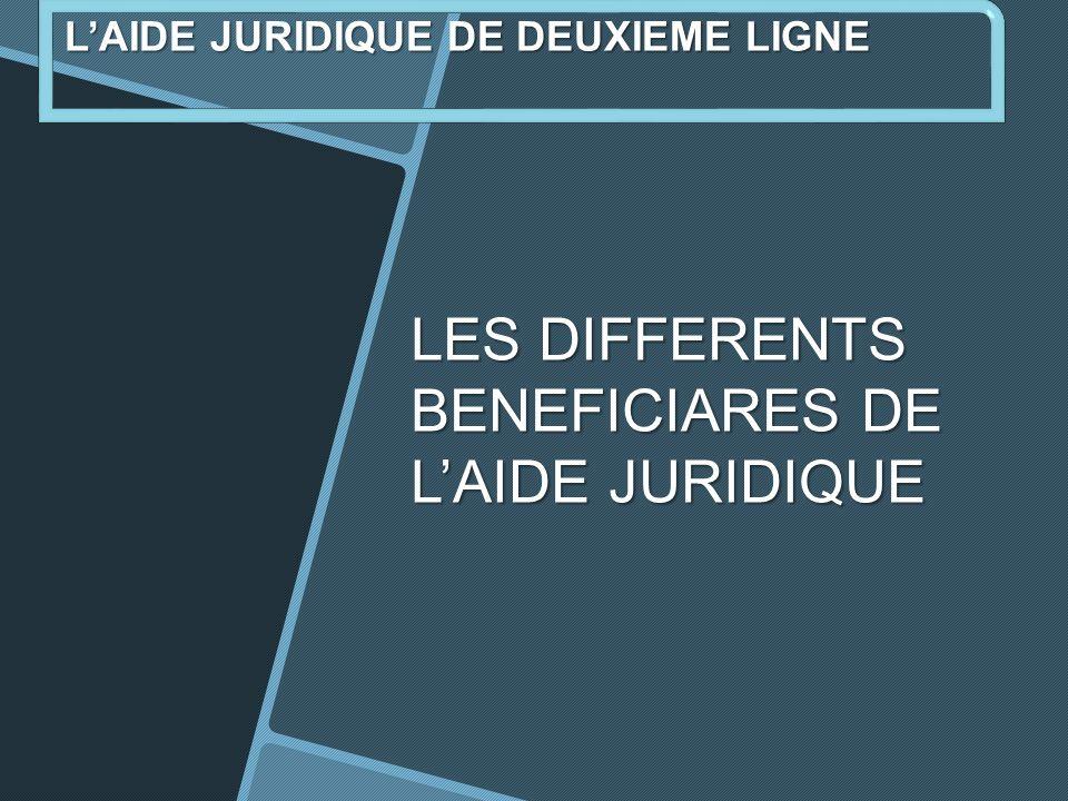 LES DIFFERENTS BENEFICIARES DE L'AIDE JURIDIQUE