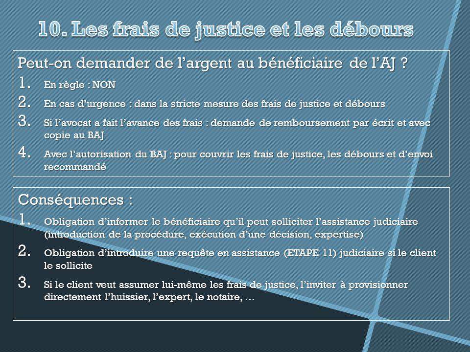 10. Les frais de justice et les débours