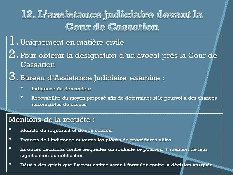 12. L'assistance judiciaire devant la Cour de Cassation