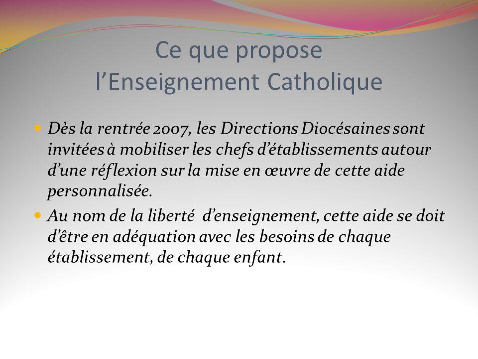 Ce que propose l'Enseignement Catholique