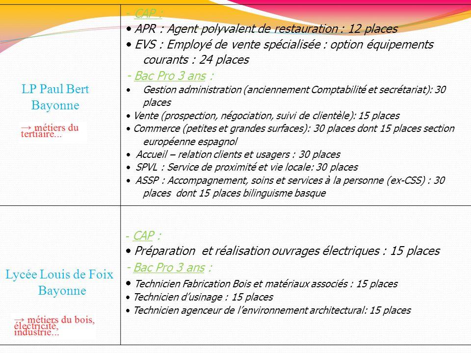 LP Paul Bert Bayonne Lycée Louis de Foix - CAP :