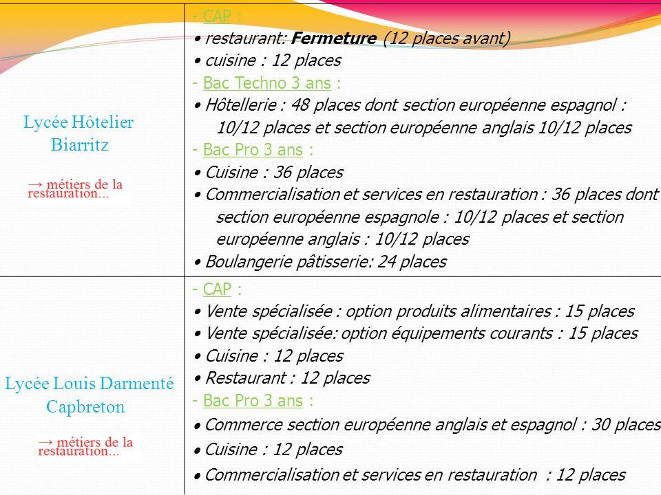Lycée Hôtelier Biarritz Lycée Louis Darmenté Capbreton - CAP :