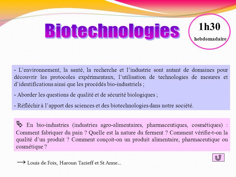 1h30 hebdomadaire. Biotechnologies.