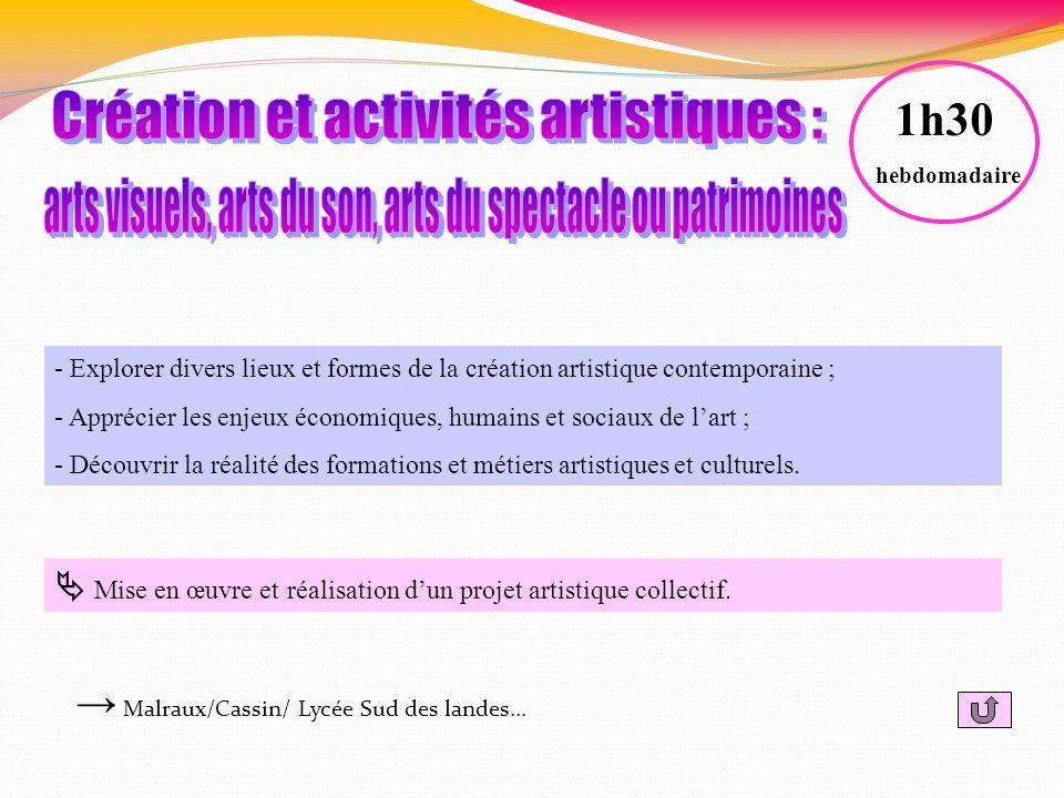 Création et activités artistiques :