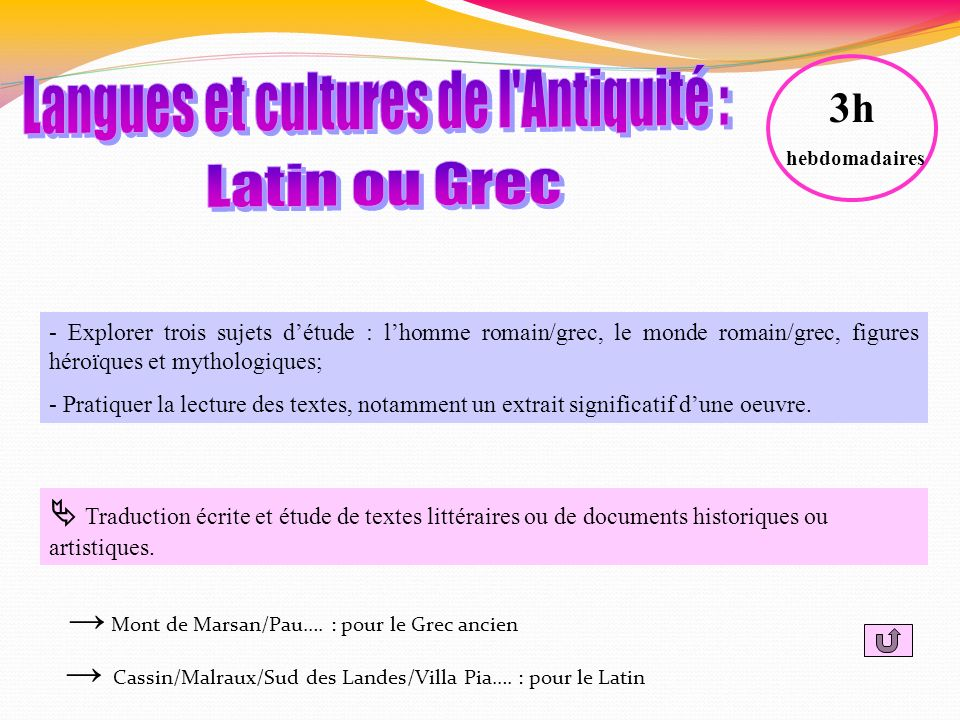 Langues et cultures de l Antiquité :