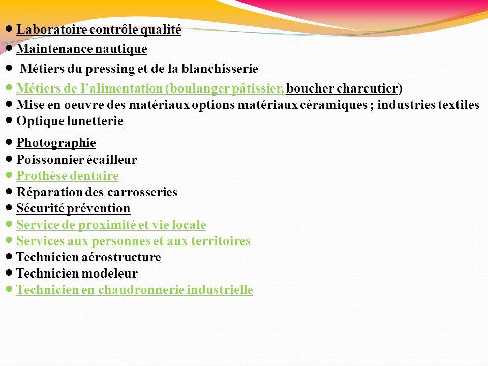 ● Laboratoire contrôle qualité ● Maintenance nautique