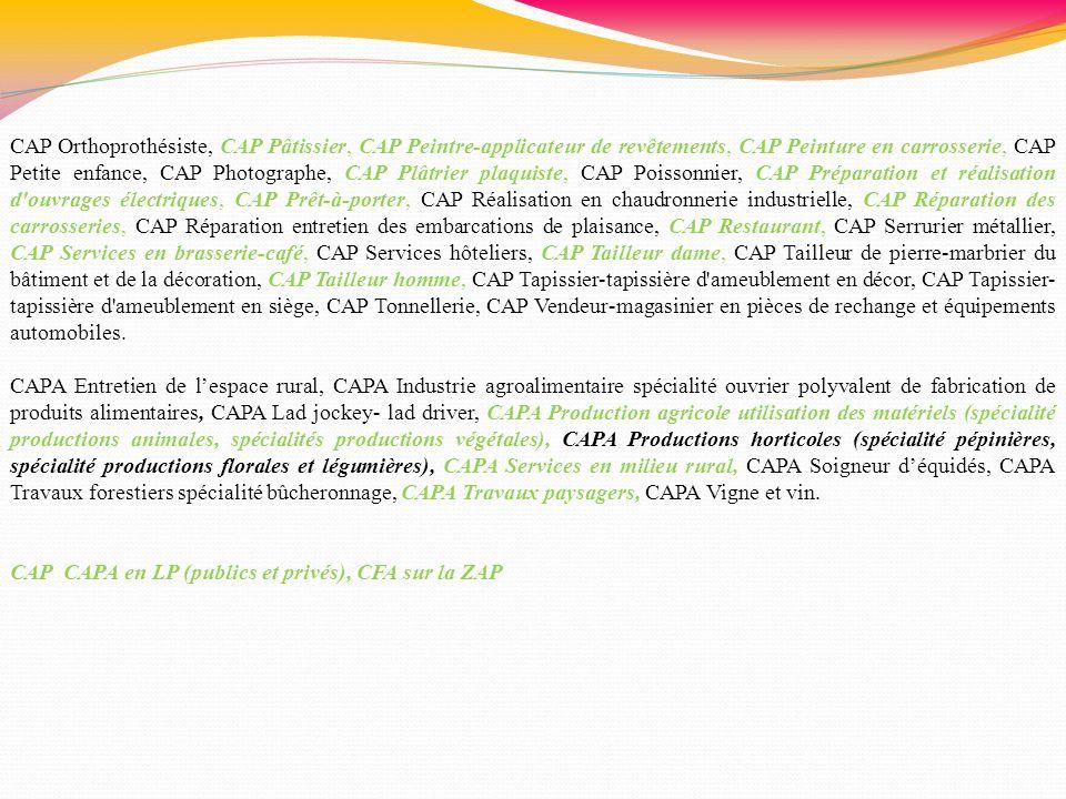 CAP CAPA en LP (publics et privés), CFA sur la ZAP