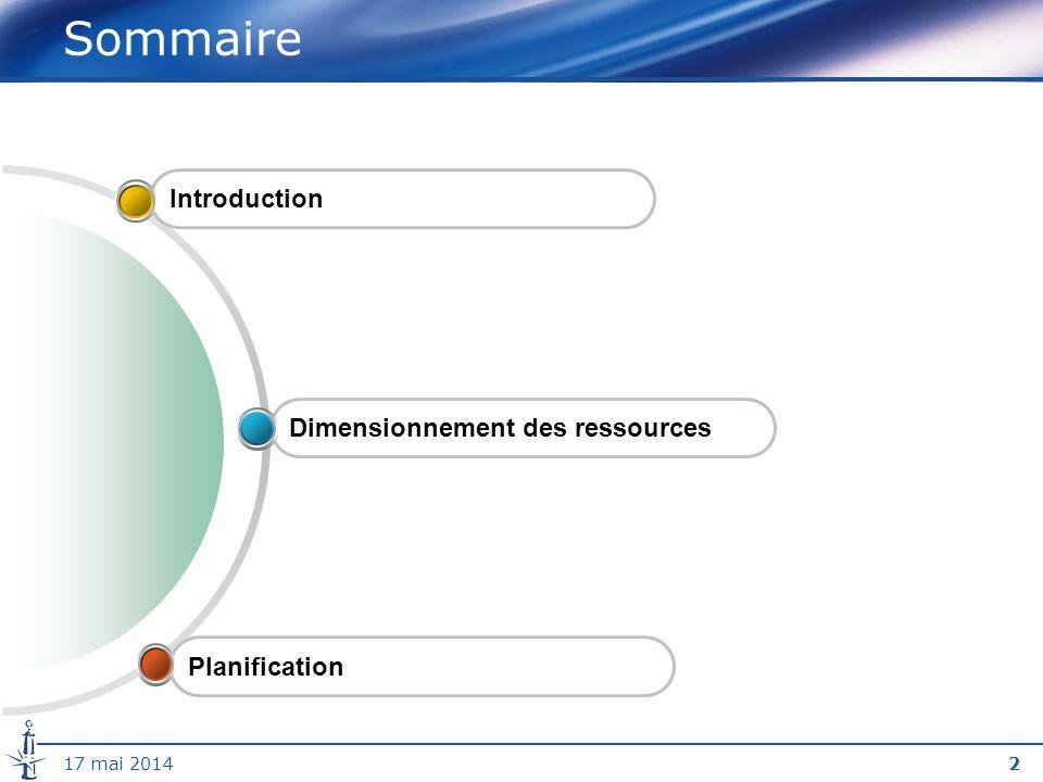 Sommaire Introduction Dimensionnement des ressources Planification