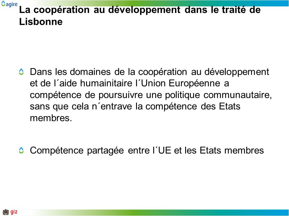 La coopération au développement dans le traité de Lisbonne