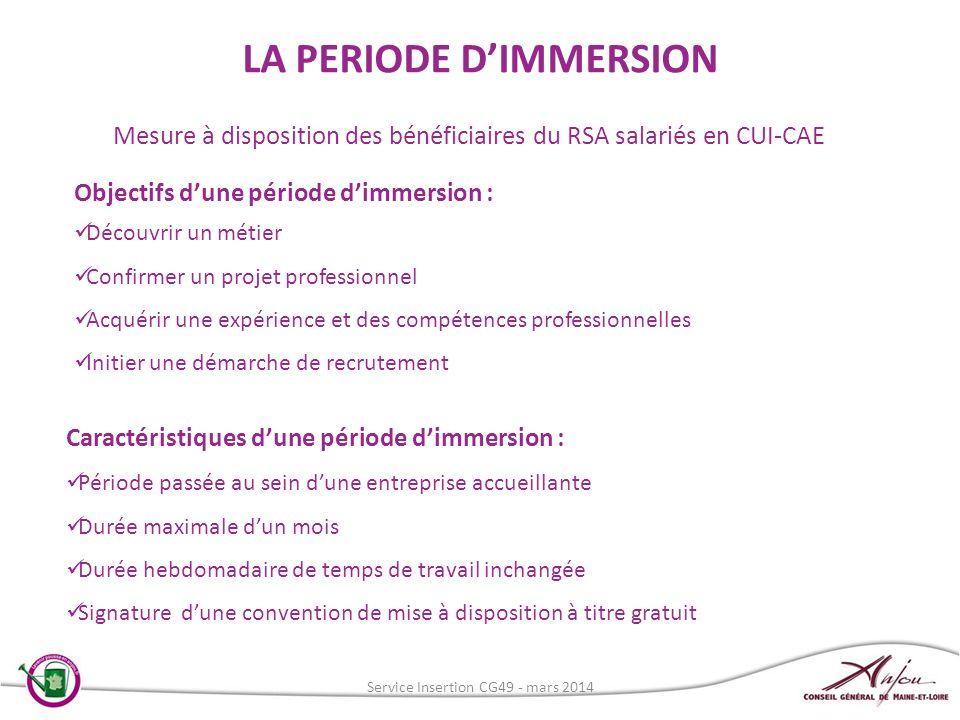 LA PERIODE D'IMMERSION