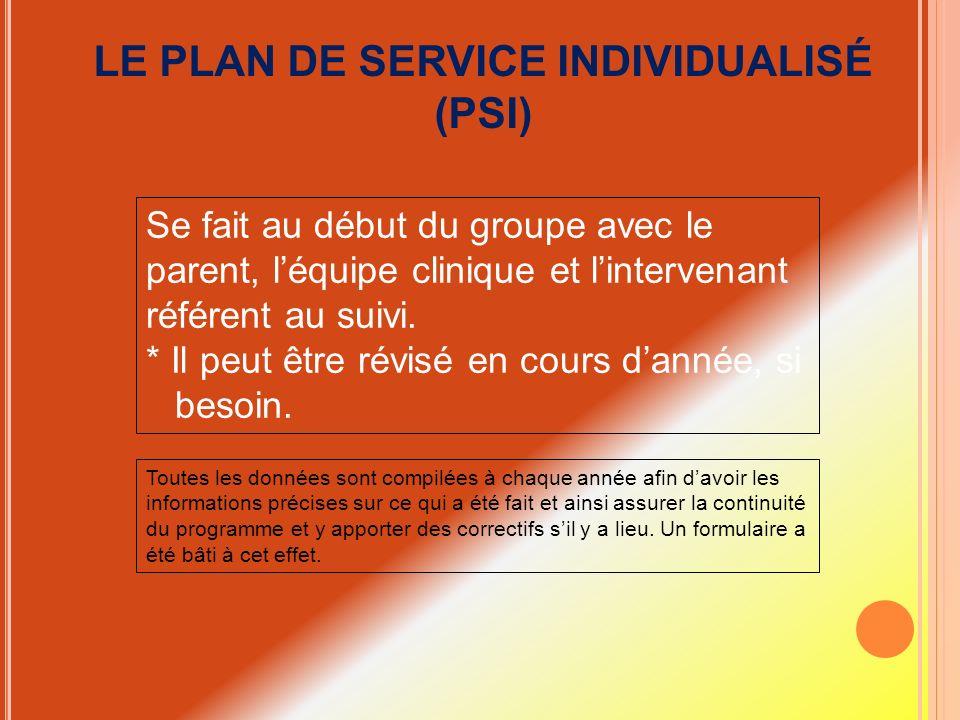 LE PLAN DE SERVICE INDIVIDUALISÉ (PSI)