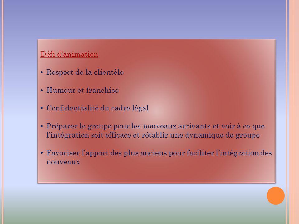 Défi d'animation Respect de la clientèle. Humour et franchise. Confidentialité du cadre légal.