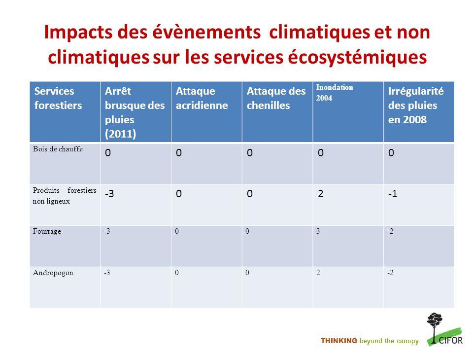 Impacts des évènements climatiques et non climatiques sur les services écosystémiques
