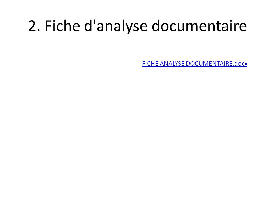 2. Fiche d analyse documentaire
