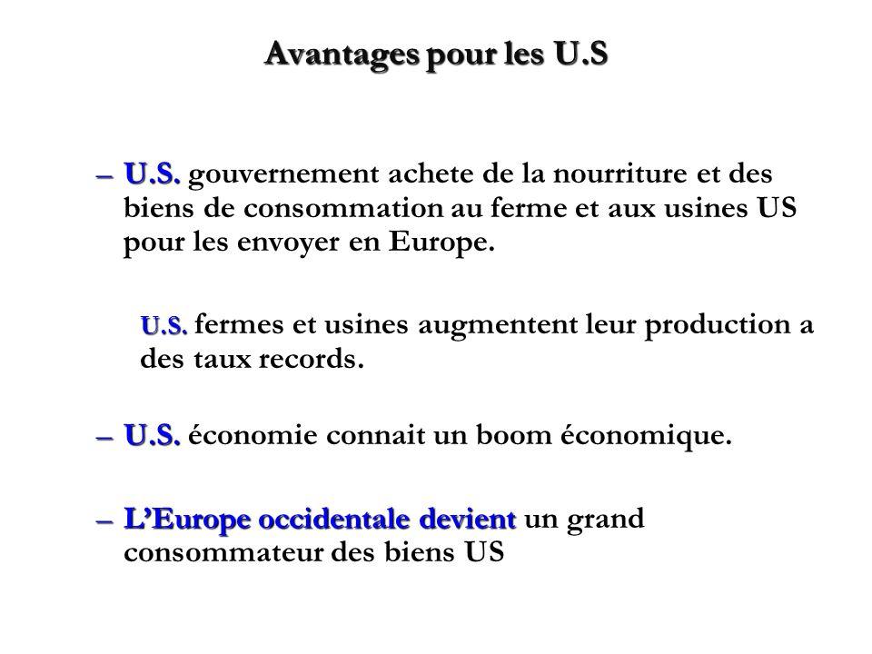 Avantages pour les U.S U.S. gouvernement achete de la nourriture et des biens de consommation au ferme et aux usines US pour les envoyer en Europe.
