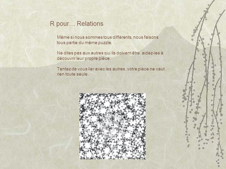R pour… Relations Même si nous sommes tous différents, nous faisons tous partie du même puzzle.