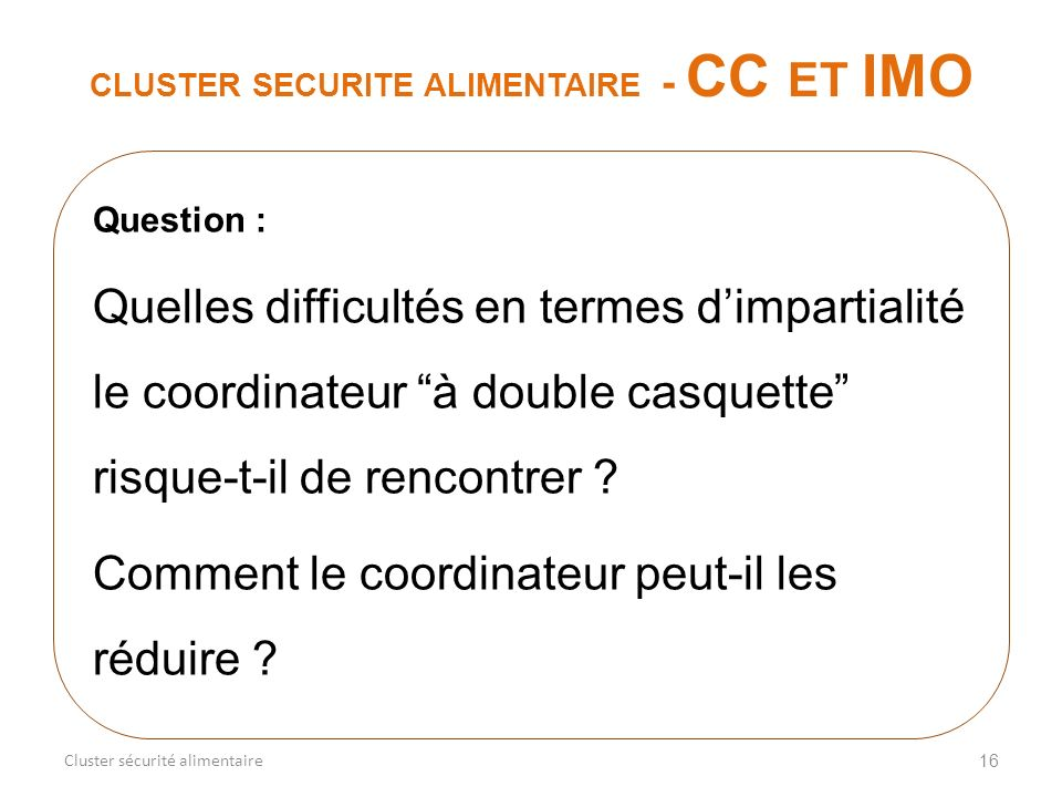CLUSTER SECURITE ALIMENTAIRE - CC ET IMO