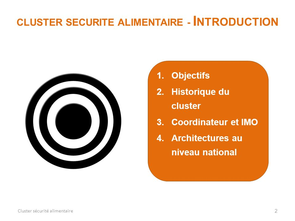 CLUSTER SECURITE ALIMENTAIRE - Introduction