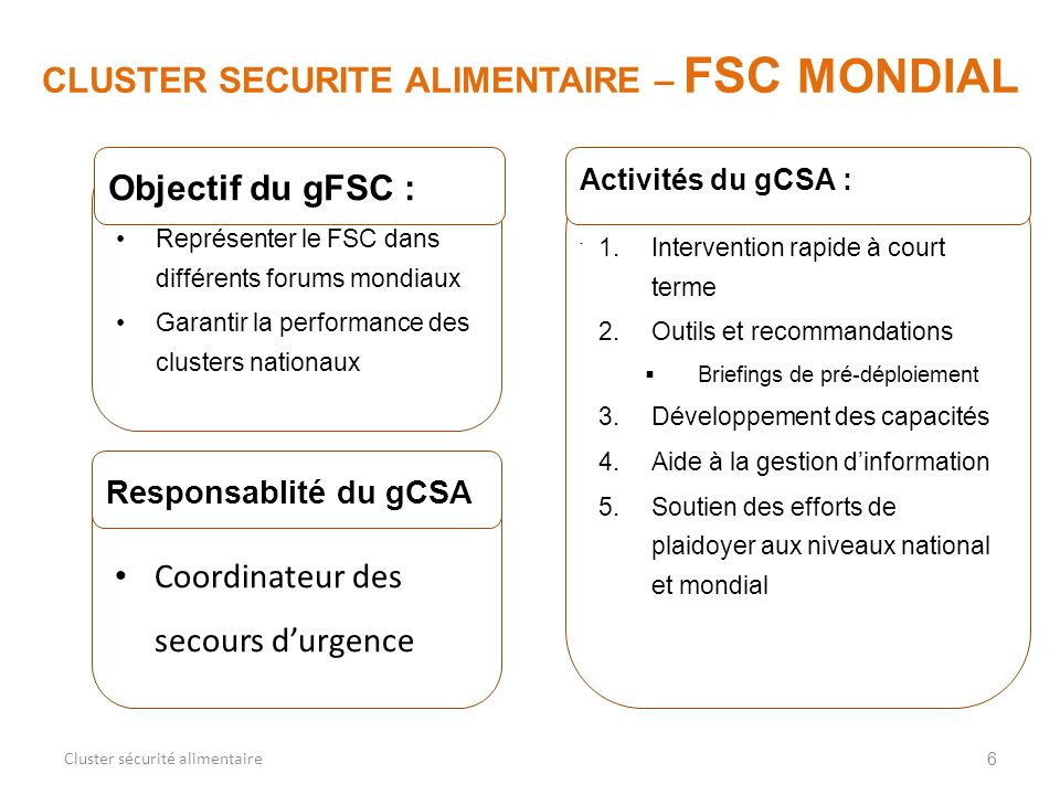 CLUSTER SECURITE ALIMENTAIRE – FSC MONDIAL