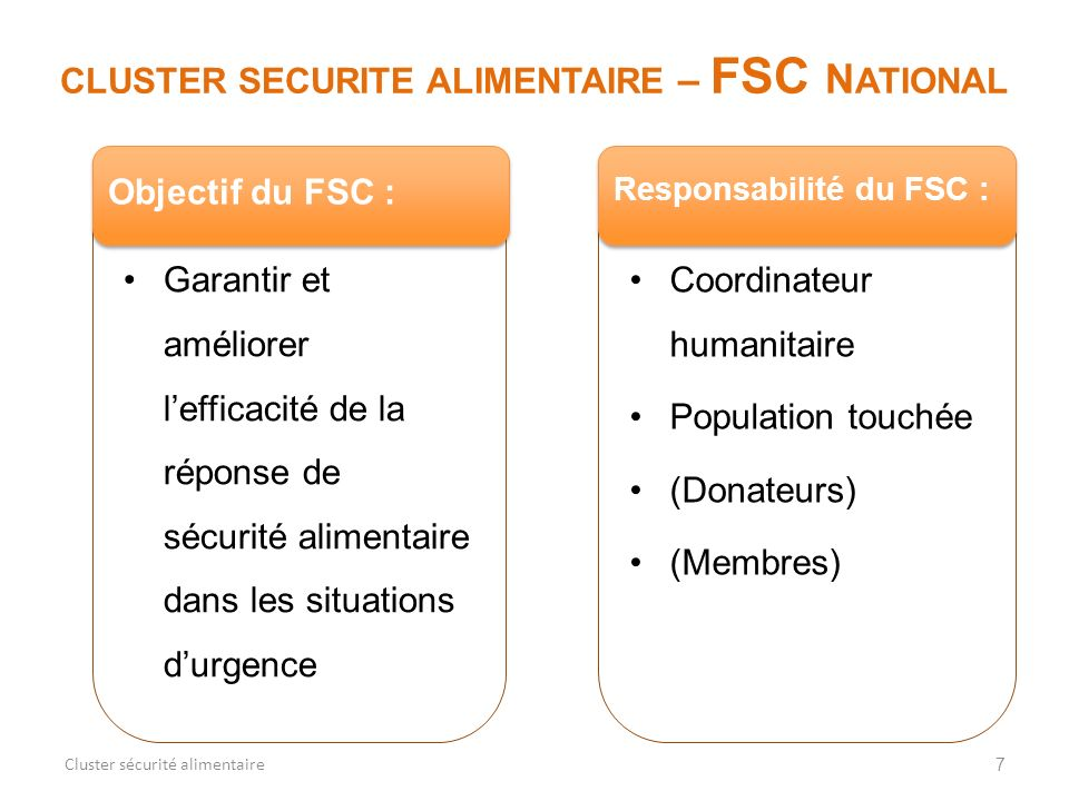 CLUSTER SECURITE ALIMENTAIRE – FSC NATIONAL