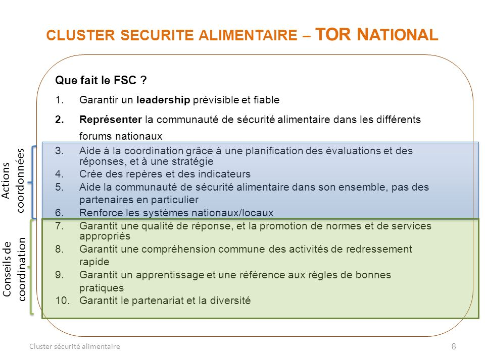 CLUSTER SECURITE ALIMENTAIRE – TOR NATIONAL