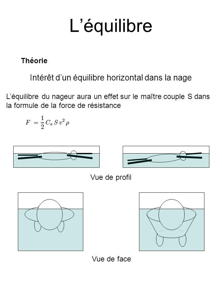 L'équilibre Intérêt d'un équilibre horizontal dans la nage Théorie