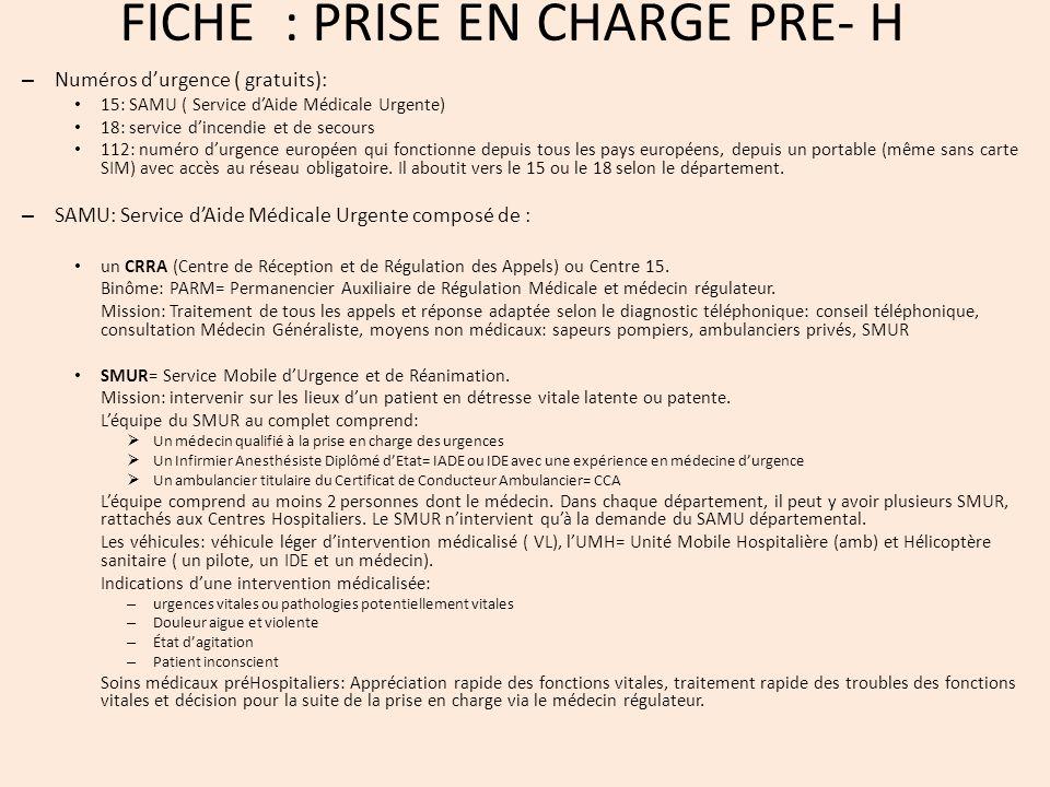 FICHE : PRISE EN CHARGE PRE- H