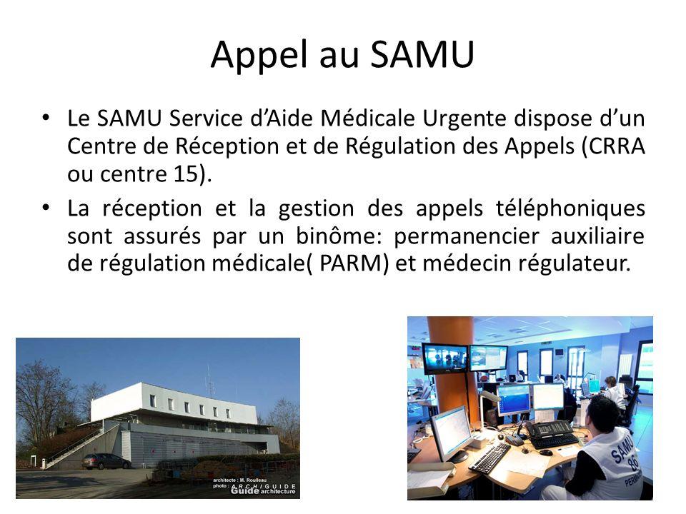 Appel au SAMU Le SAMU Service d'Aide Médicale Urgente dispose d'un Centre de Réception et de Régulation des Appels (CRRA ou centre 15).