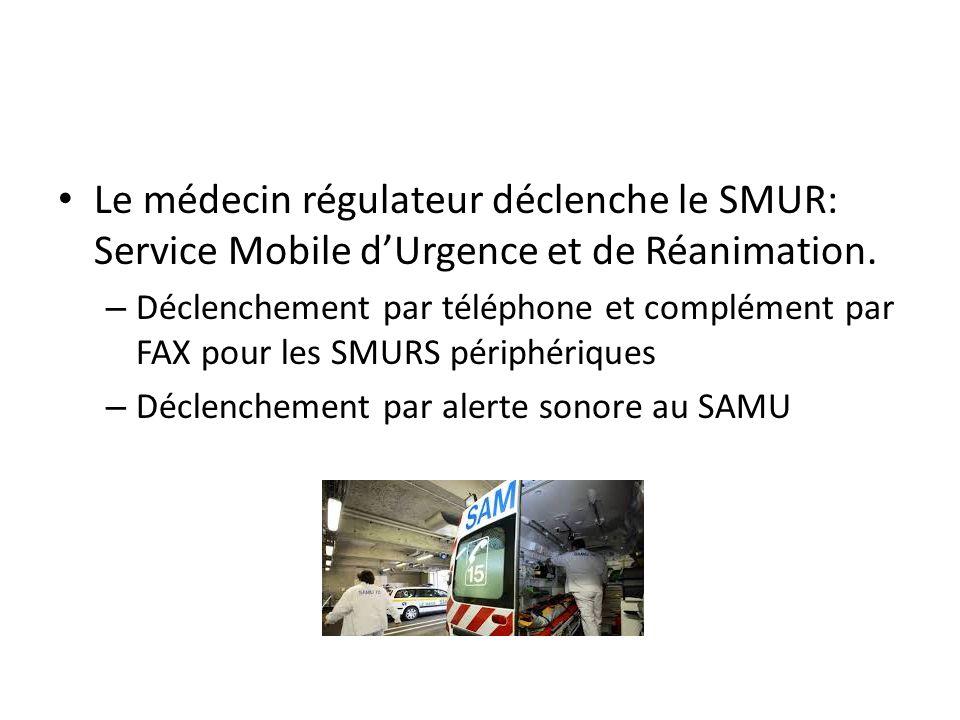 Le médecin régulateur déclenche le SMUR: Service Mobile d'Urgence et de Réanimation.