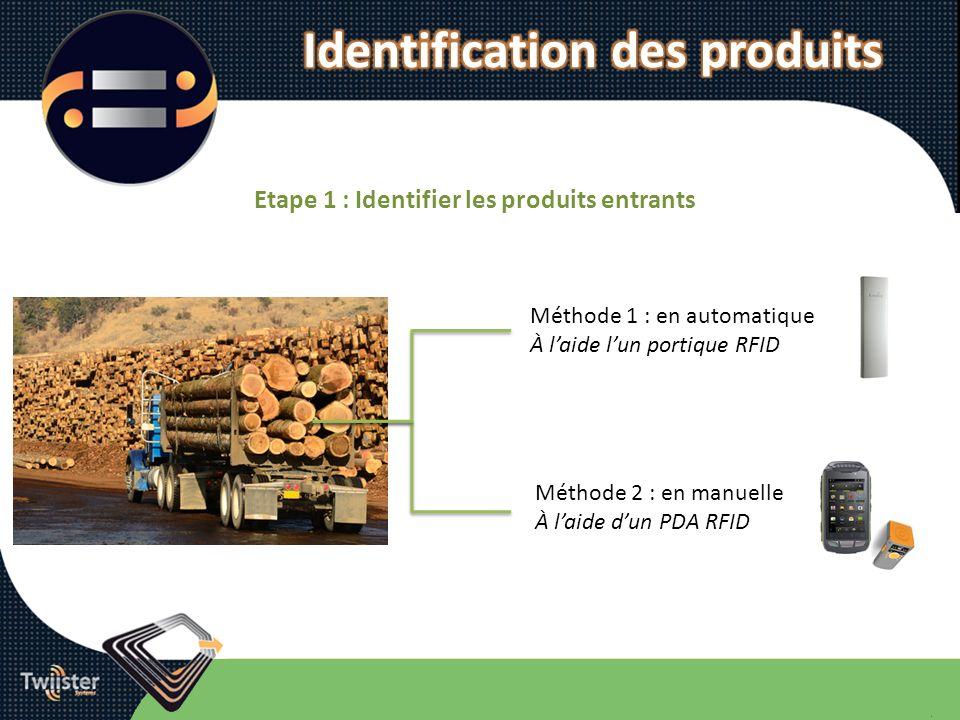 Identification des produits Etape 1 : Identifier les produits entrants