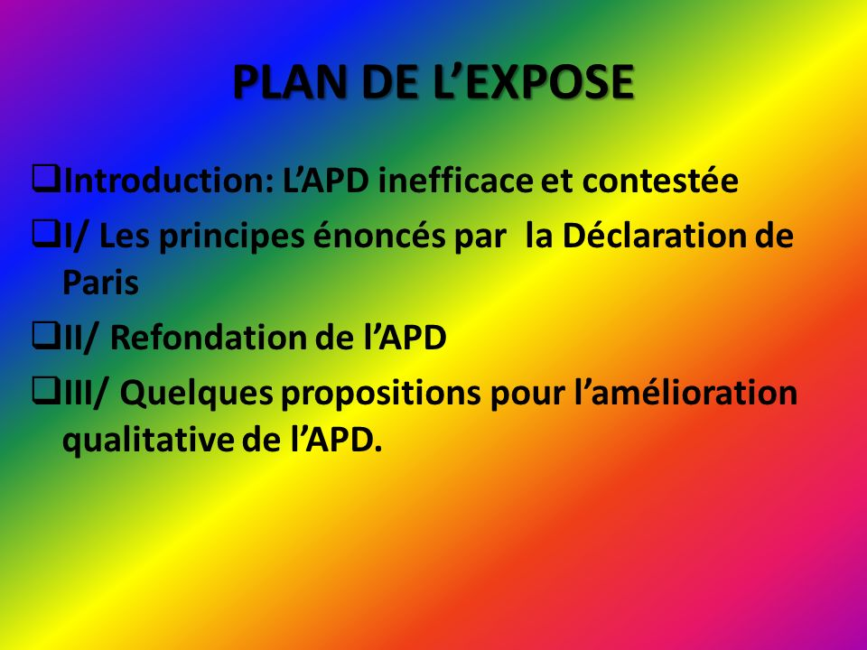 PLAN DE L'EXPOSE Introduction: L'APD inefficace et contestée