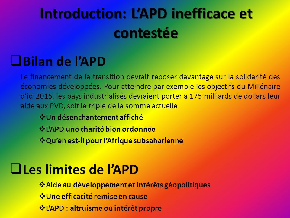 Introduction: L'APD inefficace et contestée