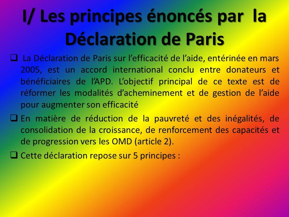 I/ Les principes énoncés par la Déclaration de Paris