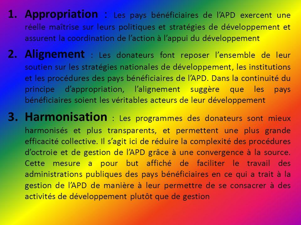 Appropriation : Les pays bénéficiaires de l'APD exercent une réelle maîtrise sur leurs politiques et stratégies de développement et assurent la coordination de l'action à l'appui du développement