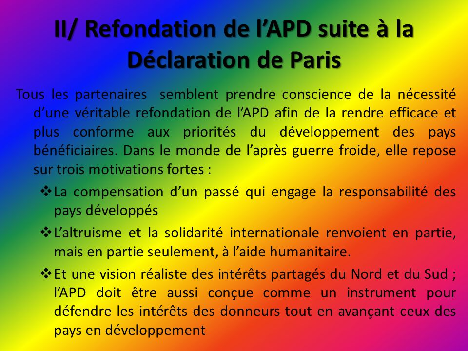II/ Refondation de l'APD suite à la Déclaration de Paris