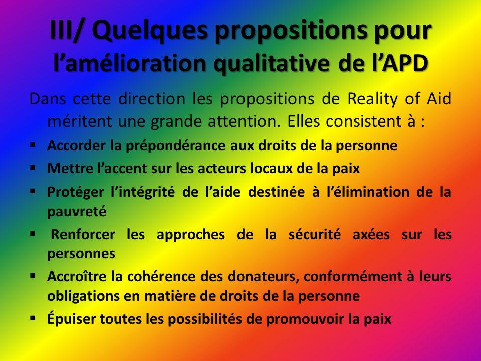 III/ Quelques propositions pour l'amélioration qualitative de l'APD