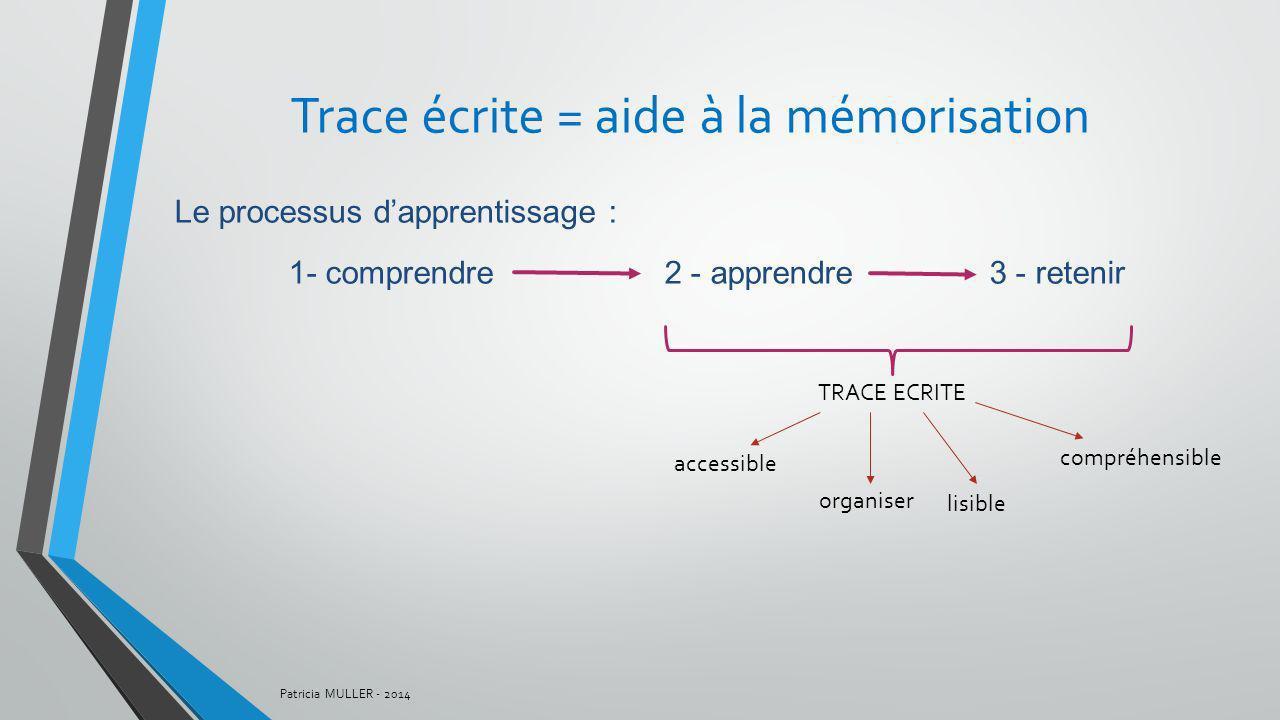 Trace écrite = aide à la mémorisation
