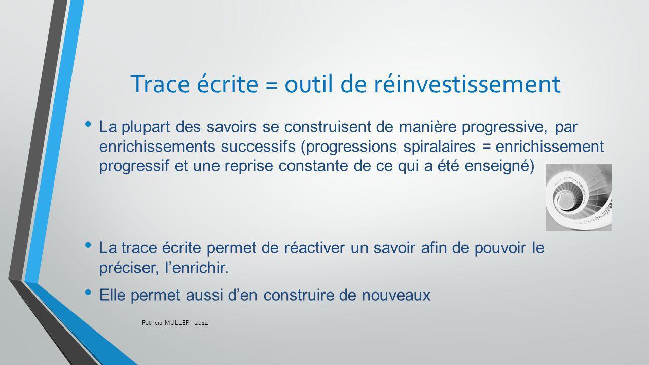 Trace écrite = outil de réinvestissement