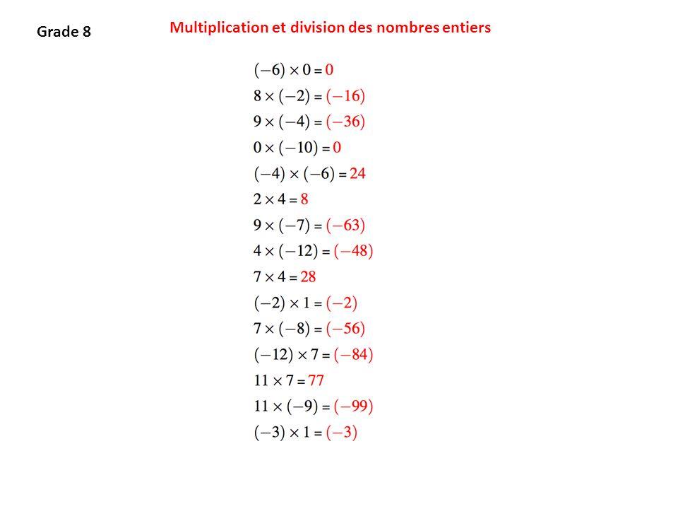 Multiplication et division des nombres entiers