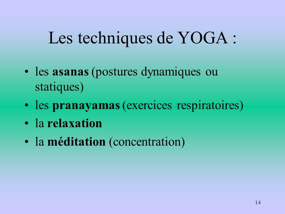 Les techniques de YOGA :