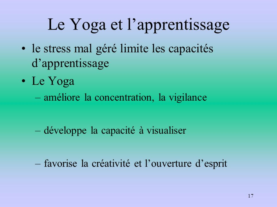 Le Yoga et l'apprentissage